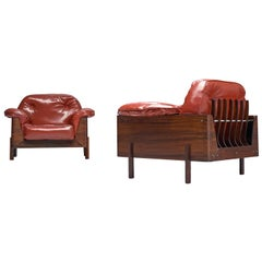 Lineart Moveis e Decoraco Rare Pair of Armchairs in Rosewood and Red Leatherette