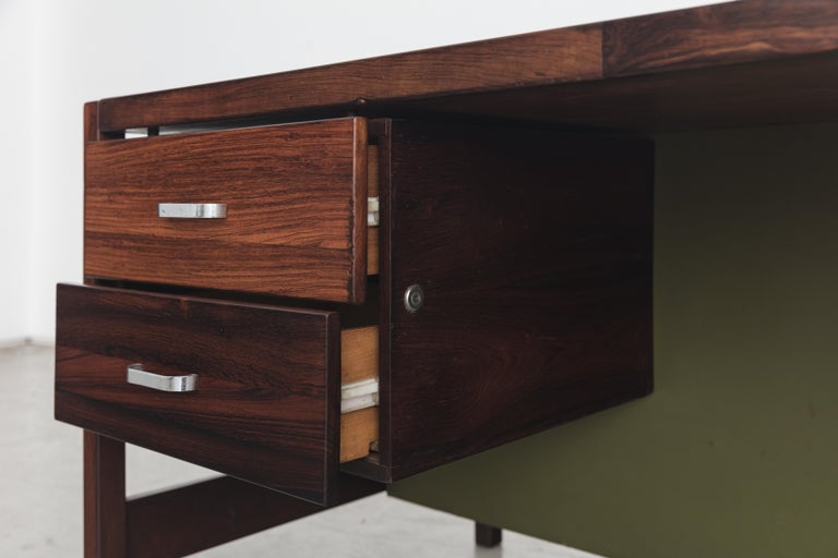 Jorge Zalszupin Rosewood Vintage Office Desk In Good Condition For Sale In Clifton, NJ