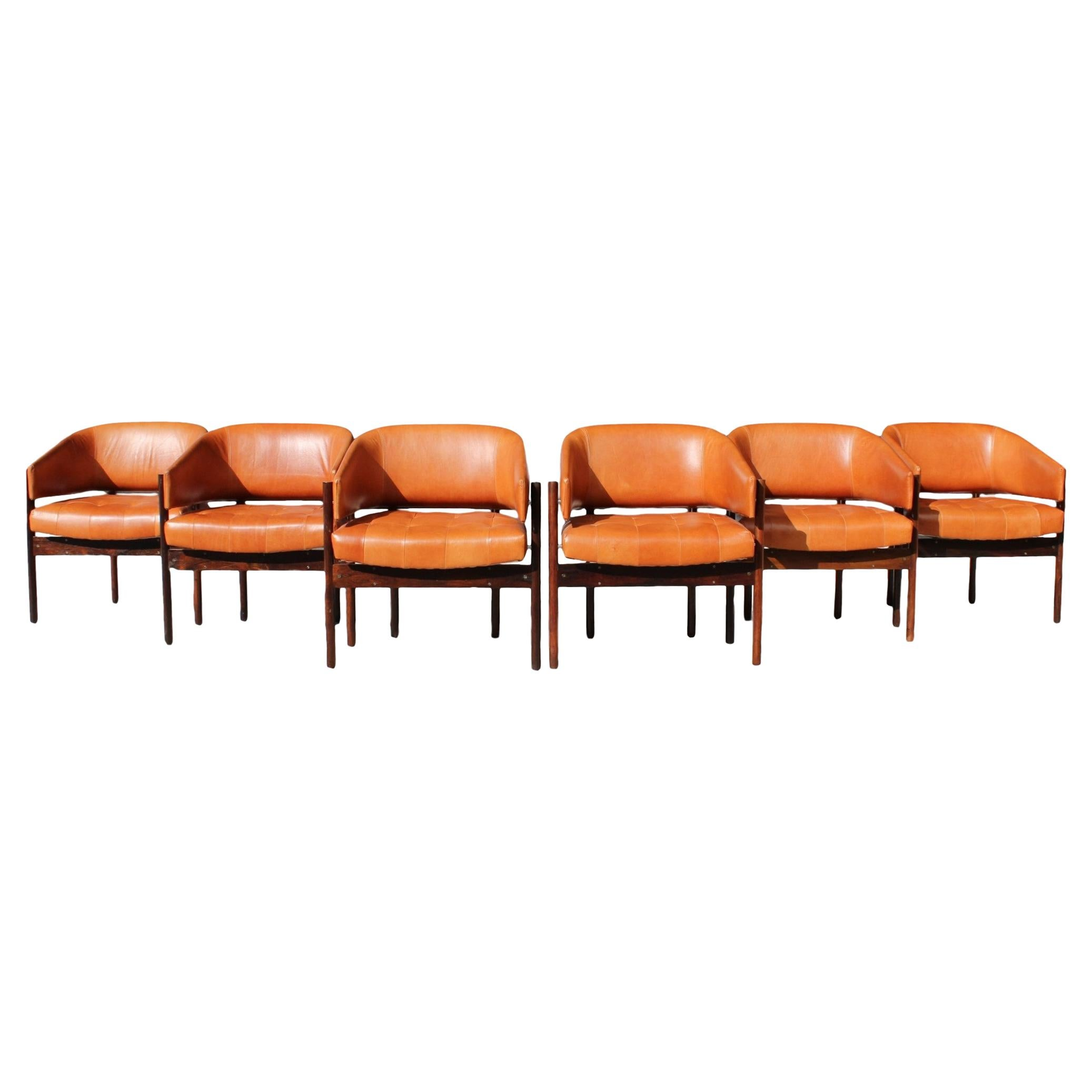 """Jorge Zalszupin for L'Atelier """"Senior"""" Armchairs Rosewood and Leather 60's."""