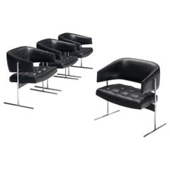 Jorge Zalszupin Set of Four 'Senior' Chairs in Black Leatherette