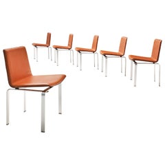 Jorgen Hoj Dining Chairs in Leather and Aluminum