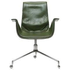 Jorgen Kastholm & Preben Fabricius Green Leather Tulip Bird Desk Chair