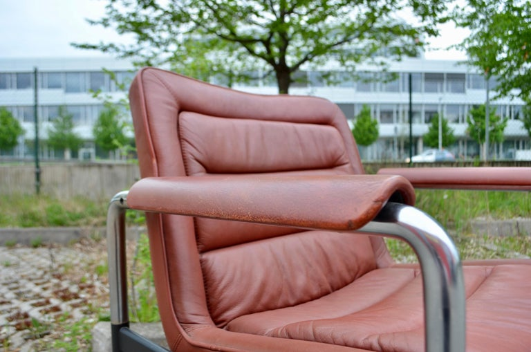 Jorgen Kastholm Red Leather Armchair Chair Modell 8400 for Kusch + Co Set of 2 For Sale 7