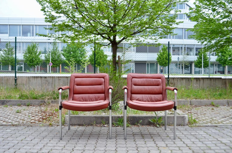 Mid-Century Modern Jorgen Kastholm Red Leather Armchair Chair Modell 8400 for Kusch + Co Set of 2 For Sale