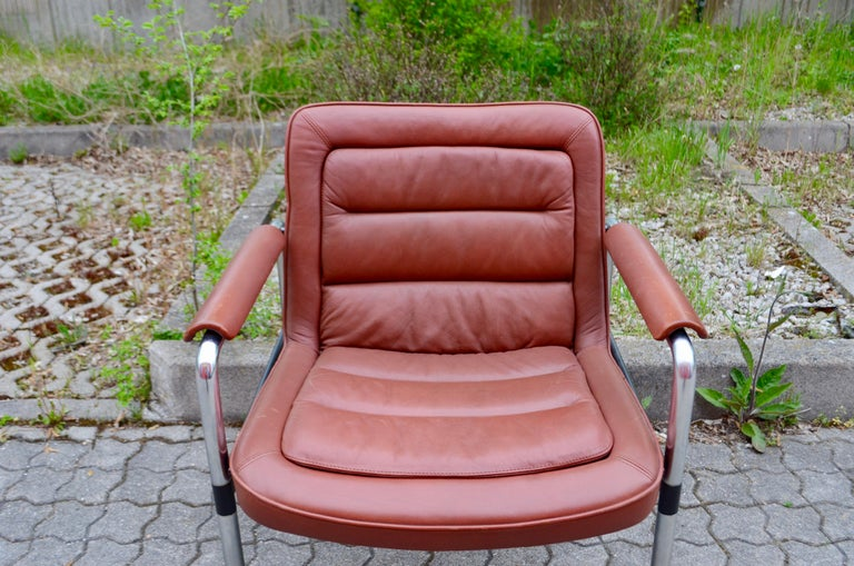German Jorgen Kastholm Red Leather Armchair Chair Modell 8400 for Kusch + Co Set of 2 For Sale
