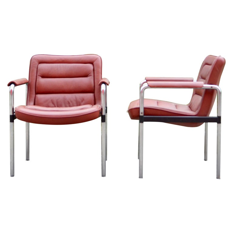 Jorgen Kastholm Red Leather Armchair Chair Modell 8400 for Kusch + Co Set of 2 For Sale