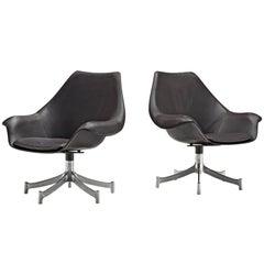 Jorgen Lund & Ole Larsen, Leather Swivel Bucket Chairs