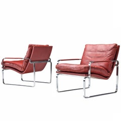 Jorgen Lund Red Leather and Steel Easy Chairs