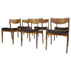 Jorgensen Danish Teak Dining Chairs in Black Leather