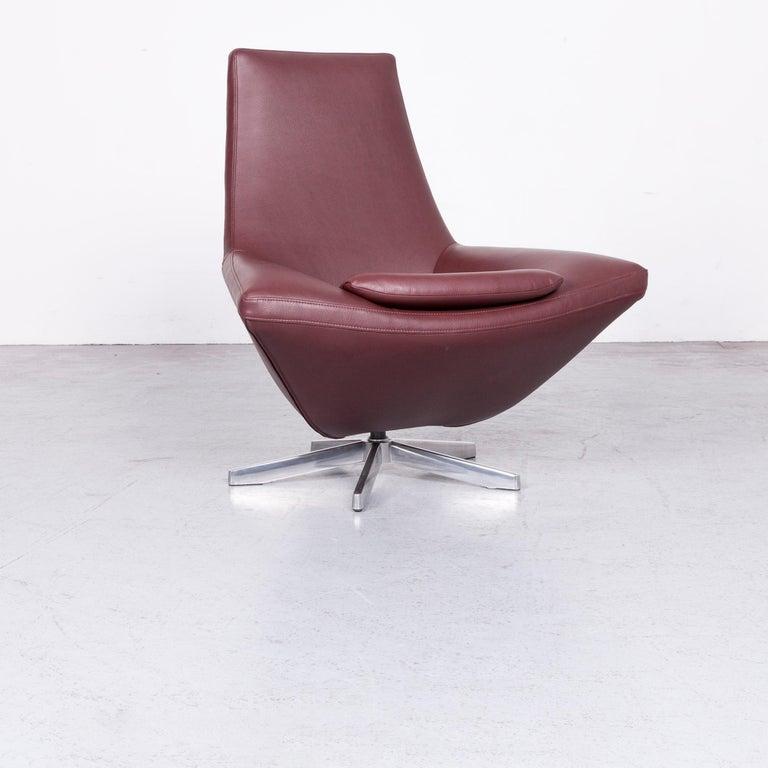 Jori Designer Kunstleder Sessel Set Ein Sitzer Bordeaux Drehsessel