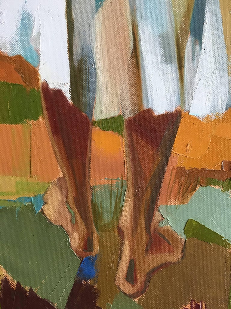 Harvest in the field After Summer, Oil on canvas, Colorful Expressionist Style For Sale 9
