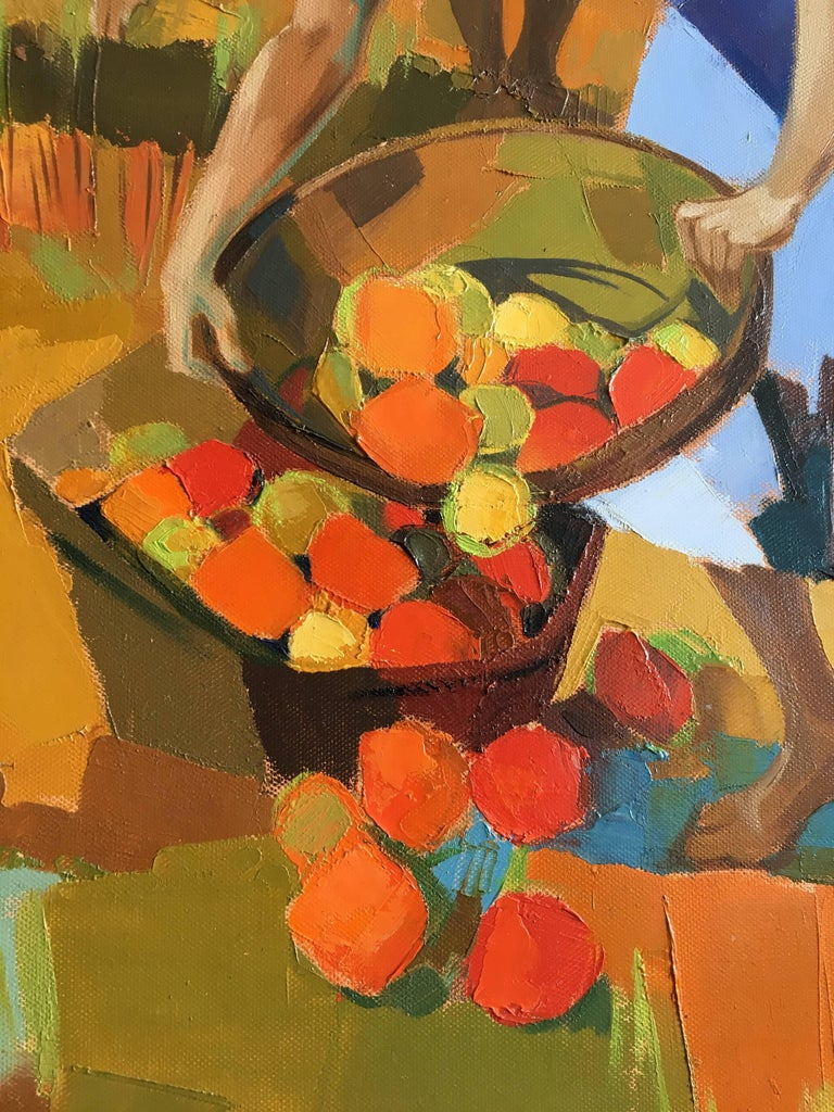 Harvest in the field After Summer, Oil on canvas, Colorful Expressionist Style For Sale 10