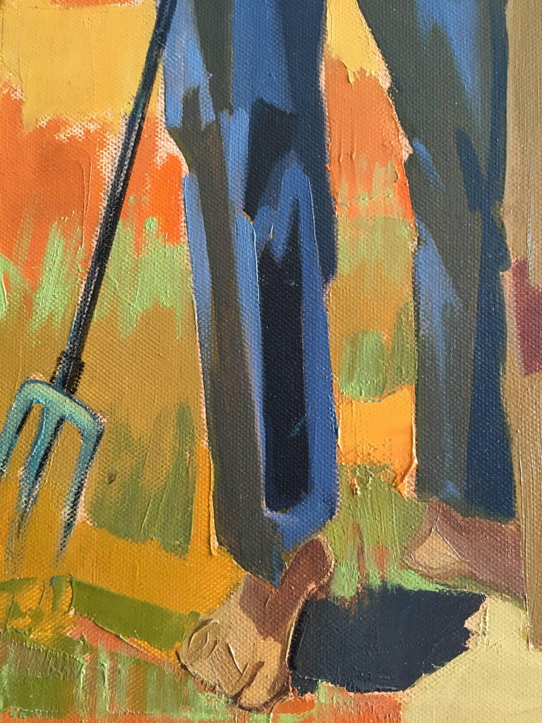 Harvest in the field After Summer, Oil on canvas, Colorful Expressionist Style For Sale 12