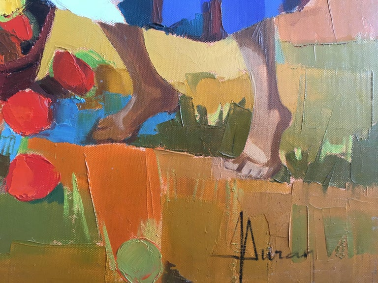 Harvest in the field After Summer, Oil on canvas, Colorful Expressionist Style For Sale 13