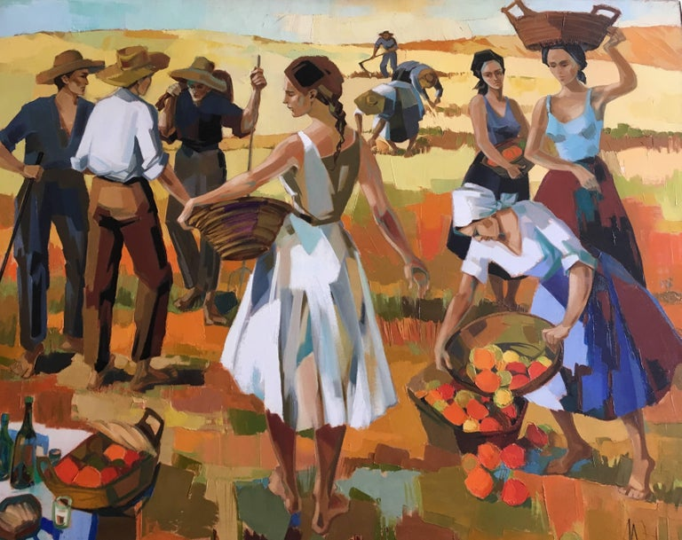 Jori Duran Landscape Painting - Harvest in the field After Summer, Oil on canvas, Colorful Expressionist Style