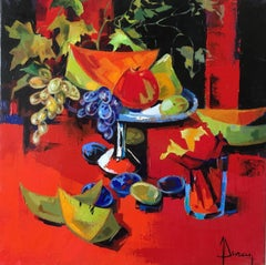 Autumn fruits, oil expressionist still life
