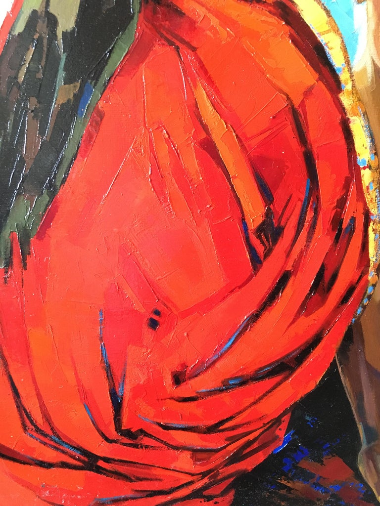 The Indian Sari Oil on canvas red and blue colors Expressionist Style Jori Duran For Sale 1