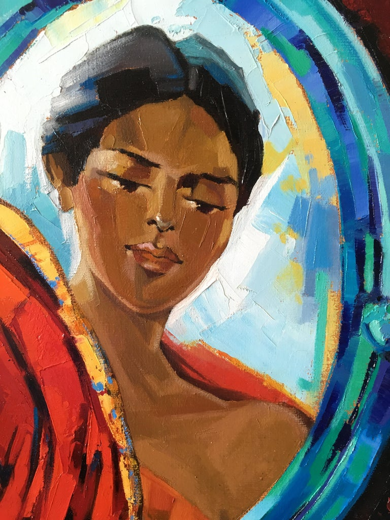 The Indian Sari Oil on canvas red and blue colors Expressionist Style Jori Duran For Sale 2
