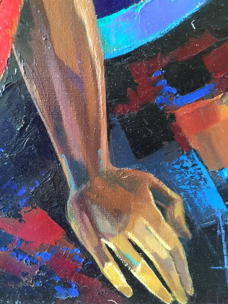 The Indian Sari Oil on canvas red and blue colors Expressionist Style Jori Duran For Sale 3
