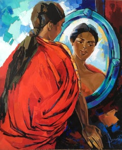 The Indian Sari Oil on canvas red and blue colors Expressionist Style Jori Duran