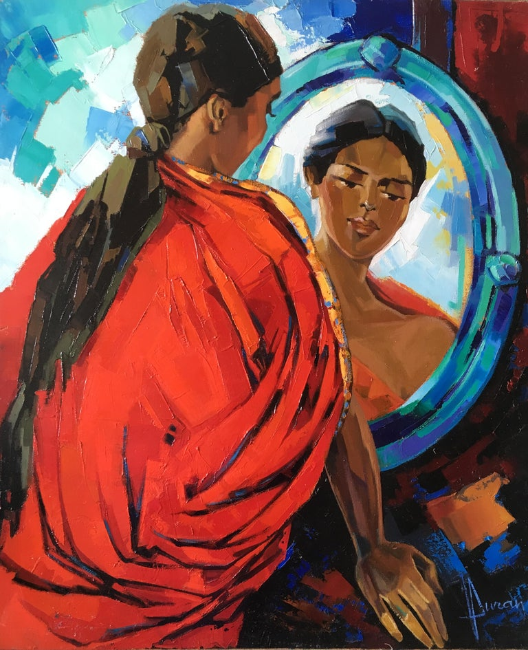 The Indian Sari Oil on canvas red and blue colors Expressionist Style Jori Duran - Painting by Jori Duran