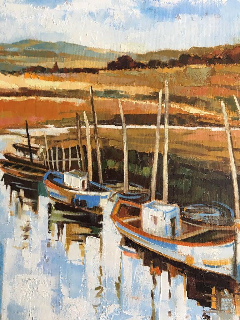 The canal - Beige Landscape Painting by Jori Duran