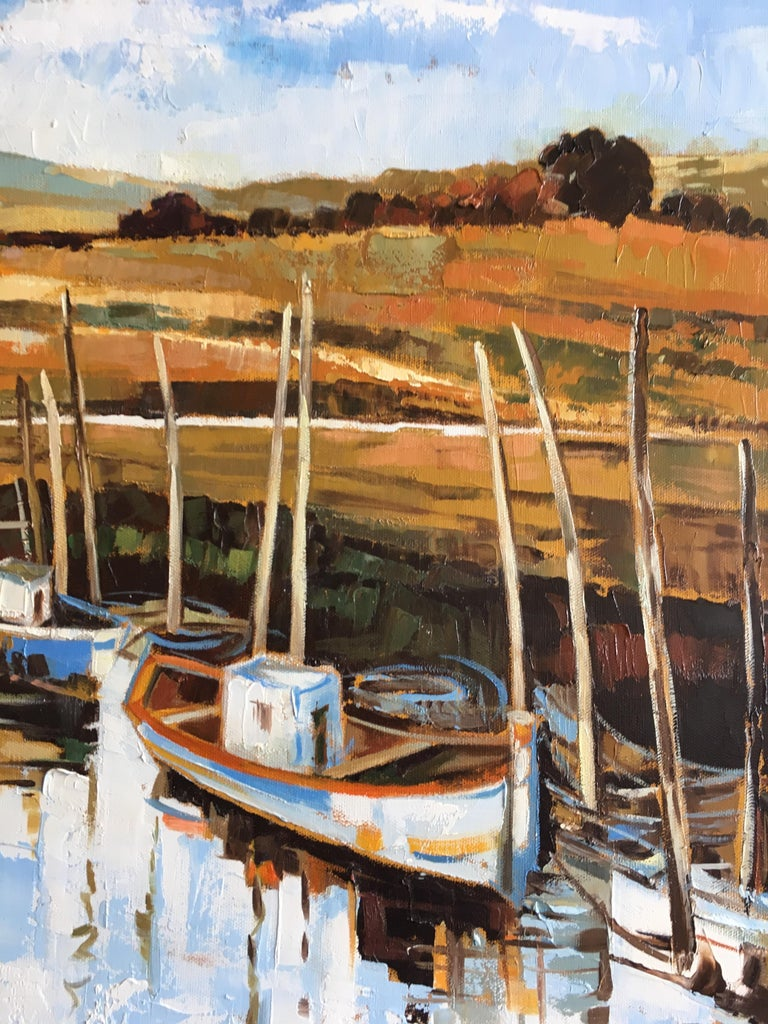 """The canal, oil on canvas by French artist Jori Duran Dimension cm: 60 H x 73 W x 2 D  Jori Duran, is a capital artist. She has been working as a teacher, book illustrator for the luxury editions """"Carrés d'Art"""" (Paris) and as a restorer of important"""