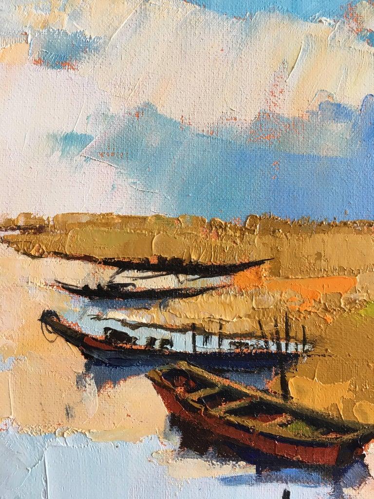 The fishermen's lagoon - Gray Figurative Painting by Jori Duran