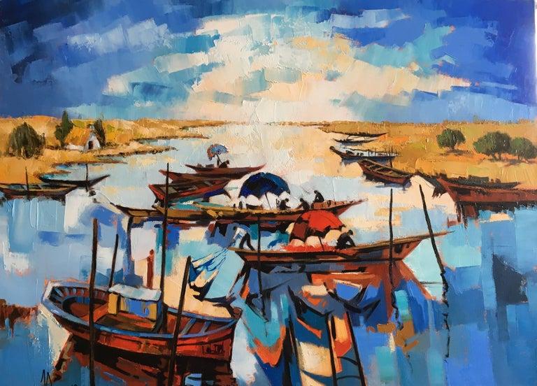 Jori Duran Figurative Painting - The fishermen's lagoon