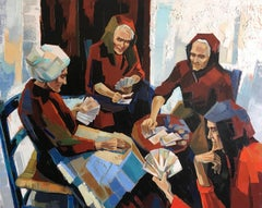 The game of cards Oil on canvas Expressionist Style French artist Jori Duran