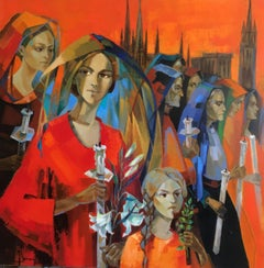 The procession, Oil on canvas Expressionist Style Red Orange and Blue colors