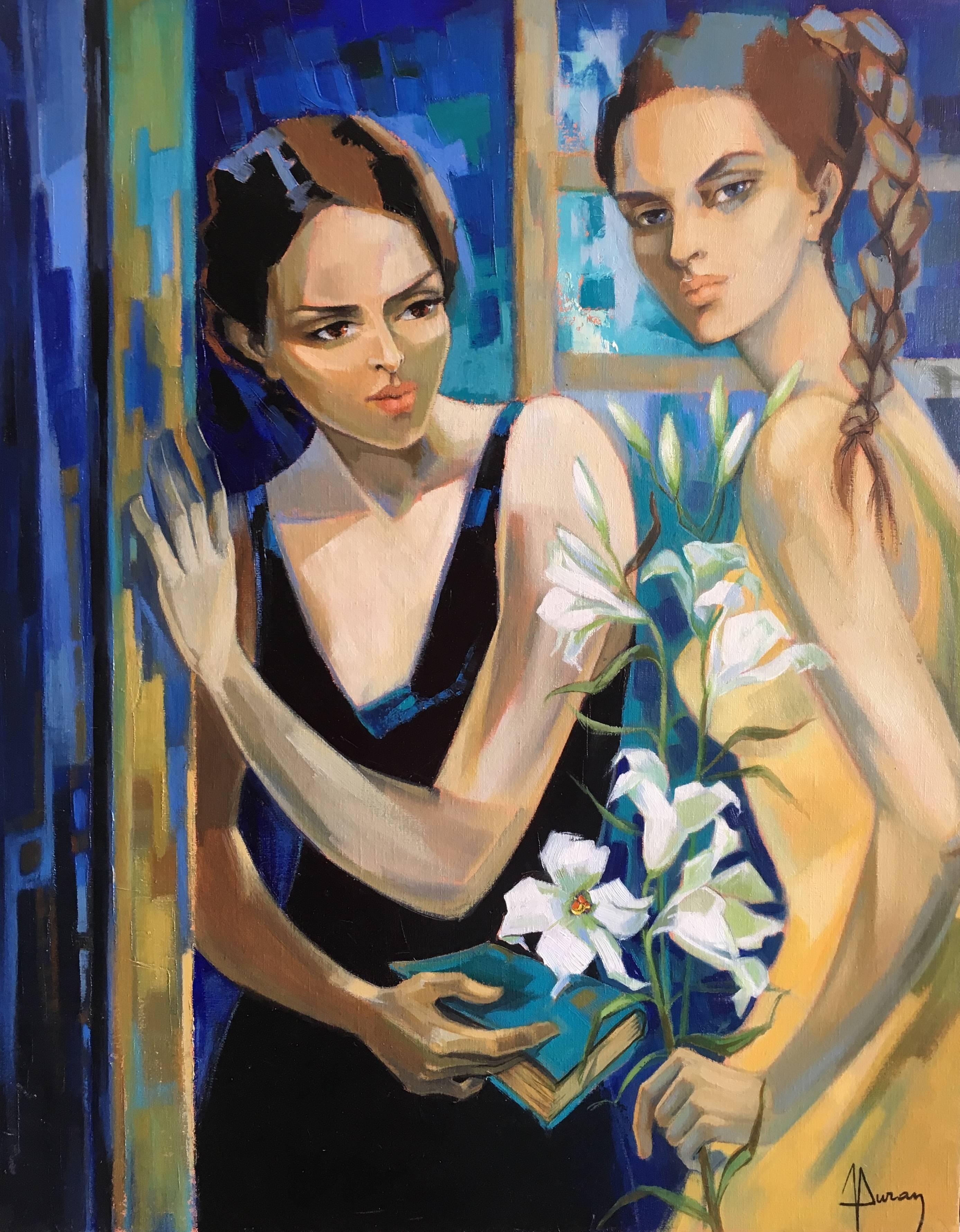 Two beautiful girls with white flowers Oil on Canvas Expressionist Style
