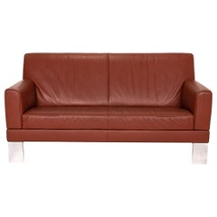 JORI Glove Leather Sofa Red Rust Red Two-Seater Function Couch