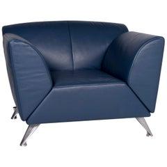 JORI Leather Armchair Blue Feature