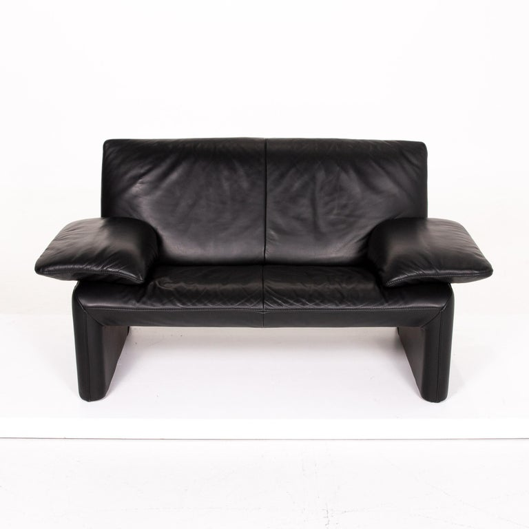 JORI Leather Sofa Black Two-Seat Couch 4