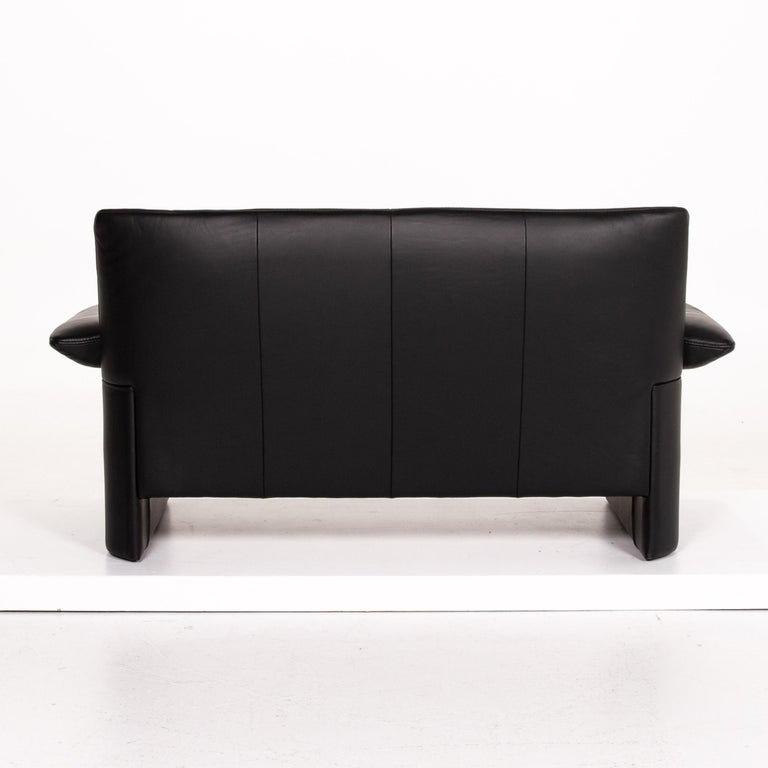 JORI Leather Sofa Black Two-Seat Couch 6