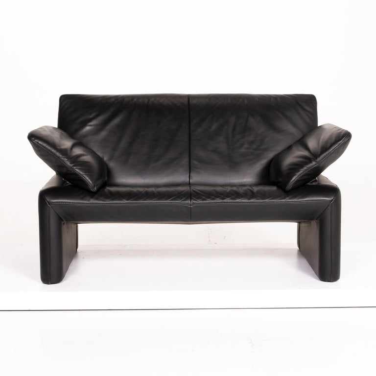 Modern JORI Leather Sofa Black Two-Seat Couch