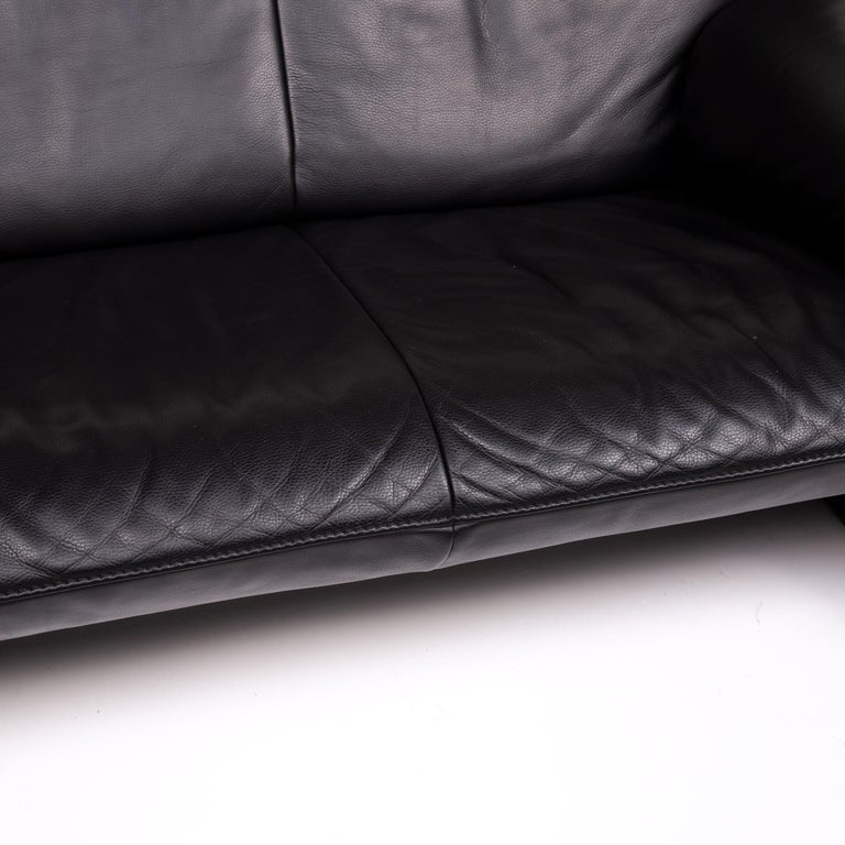 Belgian JORI Leather Sofa Black Two-Seat Couch