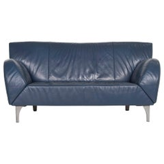 JORI Leather Sofa Blue Function Two-Seat Couch