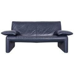 JORI Linea Designer Leather Sofa Dark Blue Two-Seat Couch
