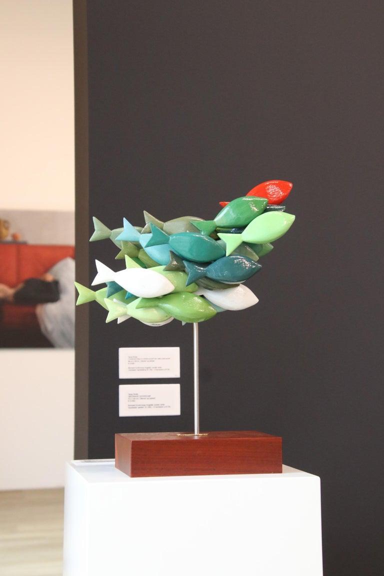 School of fish- 21st Century colorful Wooden figurative sculpture of fish - Sculpture by Jos de Wit