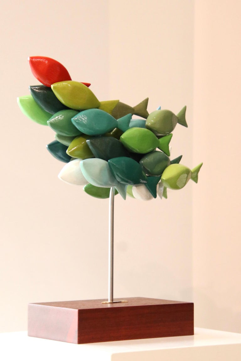 School of fish- 21st Century colorful Wooden figurative sculpture of fish - Brown Figurative Sculpture by Jos de Wit