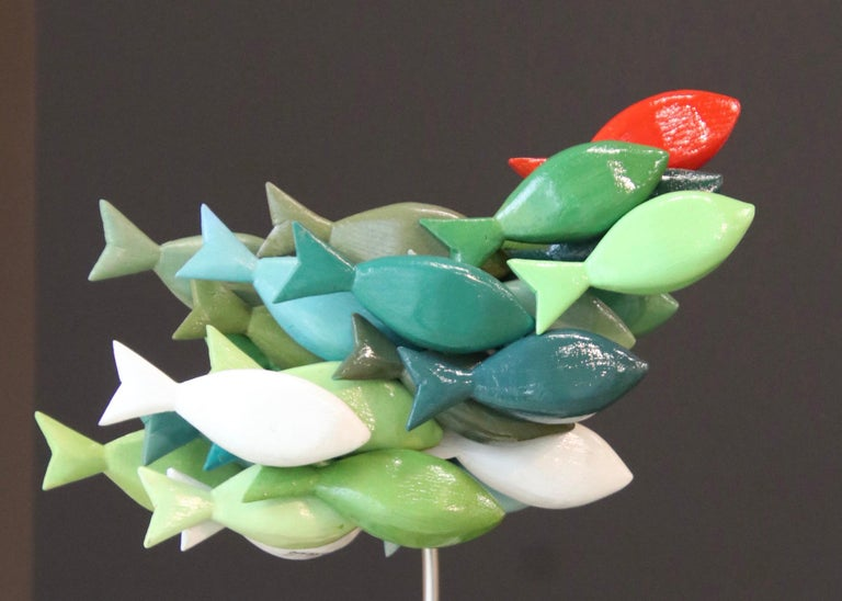 Jos de Wit Figurative Sculpture - School of fish- 21st Century colorful Wooden figurative sculpture of fish