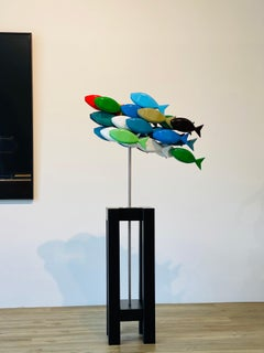 School of Fish- 21st Century Contemporary Wooden Colorful Sculpture of Fish