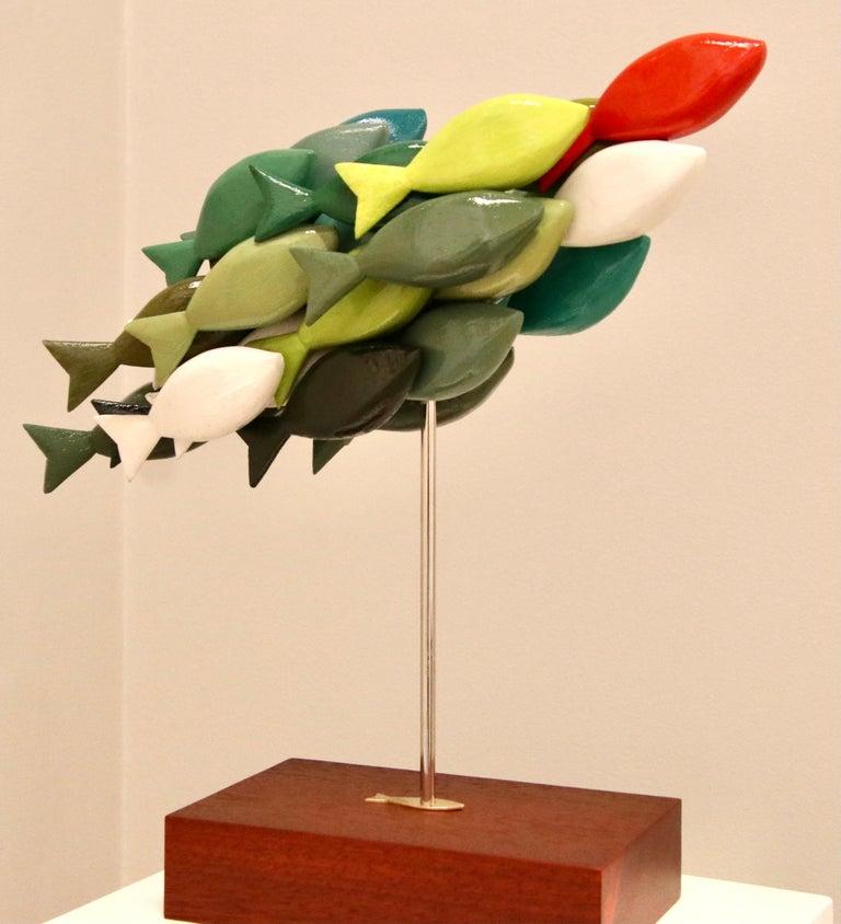 School of fish III- 21st Century Contemporary colorful Wooden sculpture - Sculpture by Jos de Wit