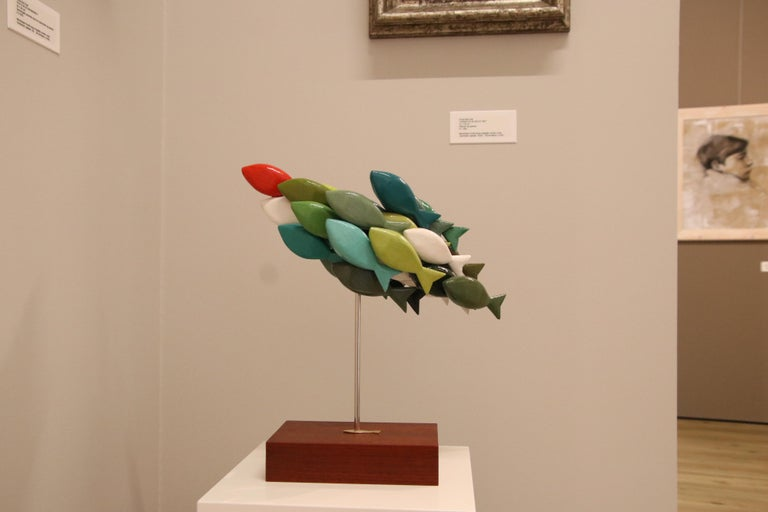 School of fish III- 21st Century Contemporary colorful Wooden sculpture - Brown Abstract Sculpture by Jos de Wit