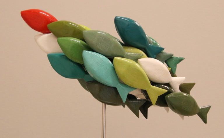 Jos de Wit Abstract Sculpture - School of fish III- 21st Century Contemporary colorful Wooden sculpture