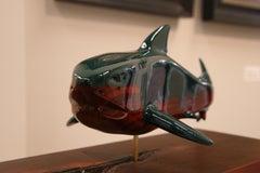 Shark- 21st Century figurative wooden animal sculpture of a big shark