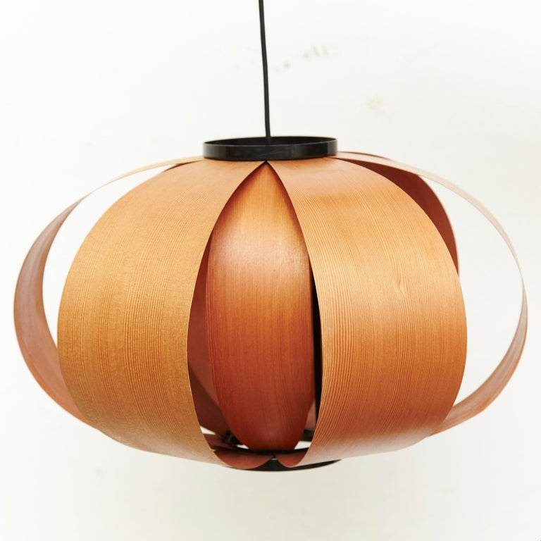 Disa lamp or coderch lamp, designed by Jose Antonio Coderch in 1957, manufactured in Spain, circa 1950. It's composed by two sheets of bentwood in two different layers size. Aluminium structure and bentwood as lampshade.  The intention is to
