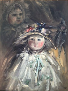 Still life of old dolls oil on canvas painting